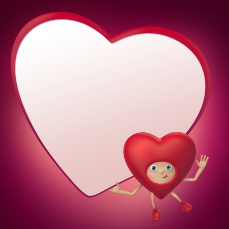 red heart cartoon holding blank Valentine banner photo