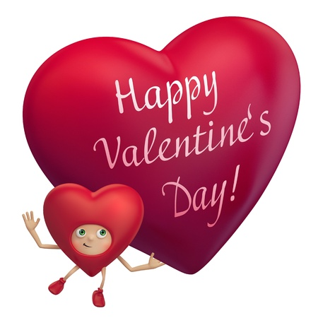 red heart cartoon holding Valentine greeting photo