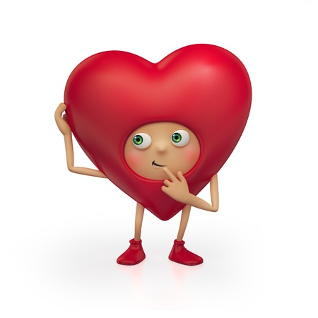 cute red heart cartoon isolated on white background  Valentine's day greeting  Three dimensional character render Stock Photo - 17093985