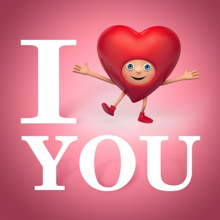 Valentine heart cartoon greeting  I love you  I miss you photo