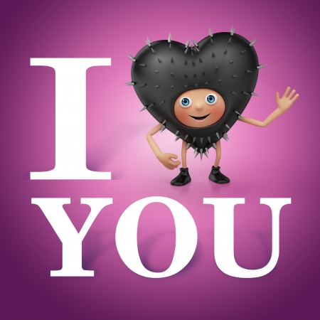 i want you: Valentine heart cartoon greeting  i Love you  I want you