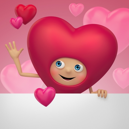 deeply: Happy Valentine heart cartoon holding blank banner Stock Photo