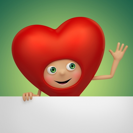 Funny Valentine heart cartoon holding banner photo