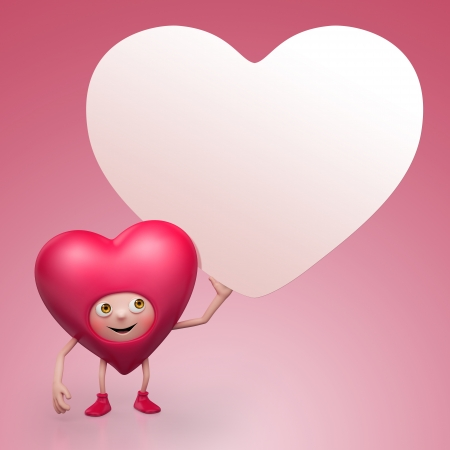madly: Valentine heart cartoon character holding banner
