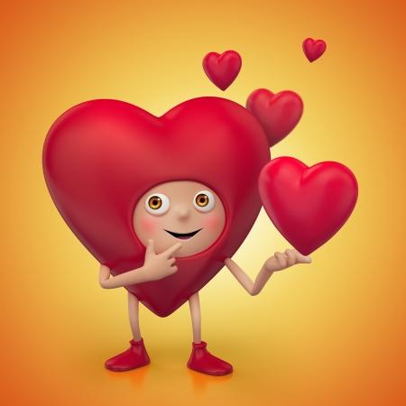 hartje cartoon: funny cute Valentine cartoon hart karakter
