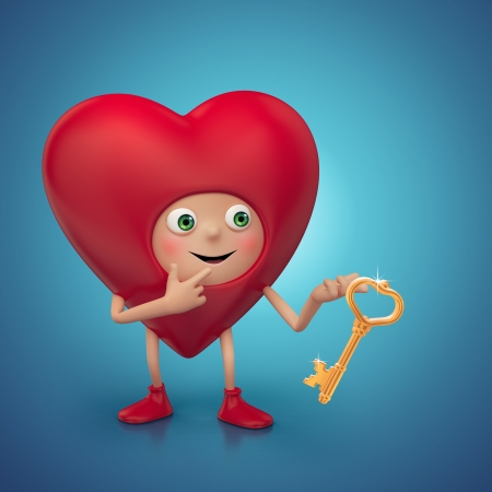 deeply: funny Valentine heart cartoon holding golden key Stock Photo