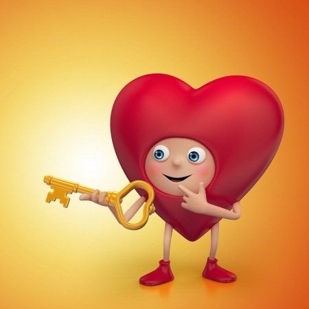 deeply: red Valentine heart cartoon holding golden key Stock Photo