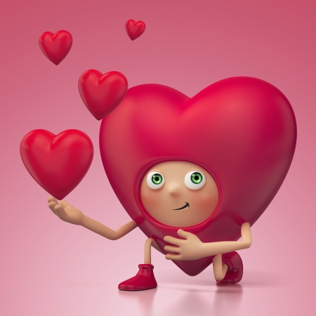 deeply: Funny romantic Valentine heart cartoon roposing Stock Photo