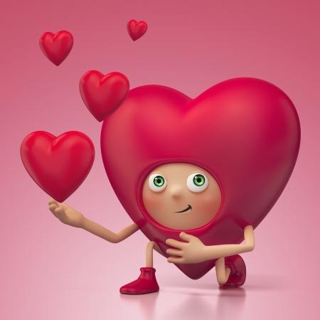 Grappig romantische Valentijn hart cartoon roposing