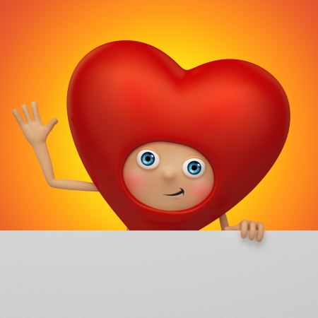 Happy Valentine heart cartoon holding tag Stock Photo - 17094008