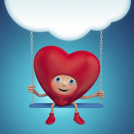 Happy Valentine heart cartoon sitting on swing and holding banner photo