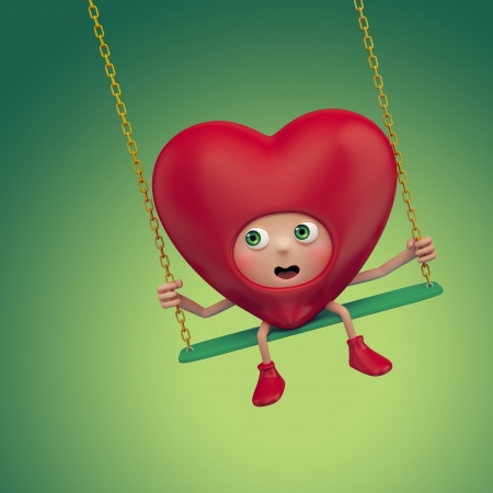 ordeal: Funny Valentine red heart cartoon on swing Stock Photo
