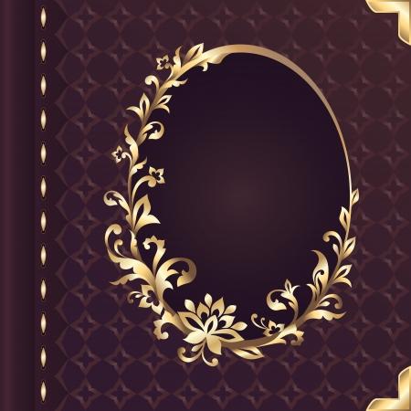 óvalo: libro de tapa vector de diseño con marco decorativo floral adornado