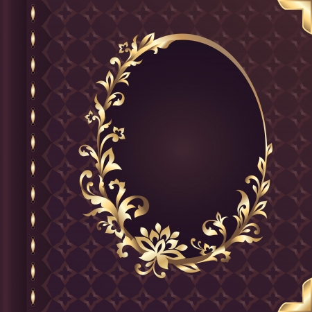 gold frame: vector book cover design with decorative floral ornate frame