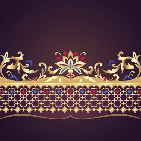 embossing: vector decorative floral ornate border element