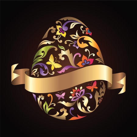 incrustation: decorative Easter egg with engraved and painted pattern and golden ribbon