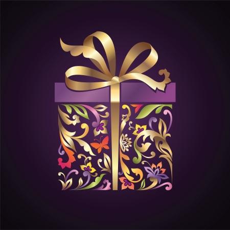 repujado: envuelto floral caja adornada presente con arco de oro Vectores