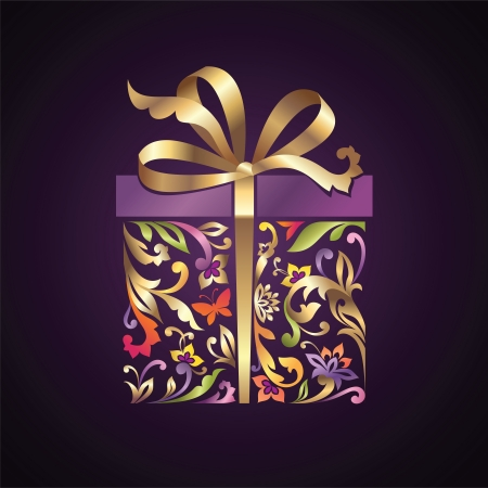 wrapped floral ornate present box with gold bow Vector