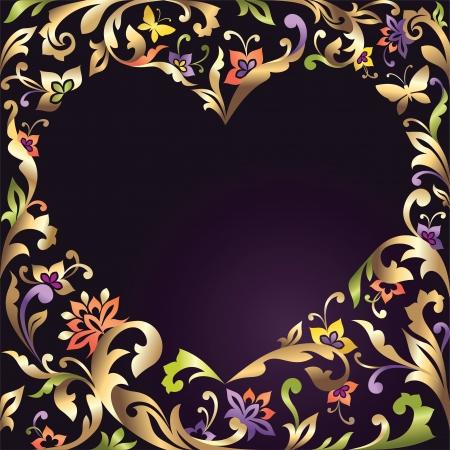 repujado: D�a de San Valent�n coraz�n marco con estampado de flores Vectores
