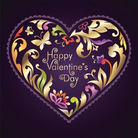 repujado: d�a de San Valent�n saludo decorado texto dentro de marco floral coraz�n adornado