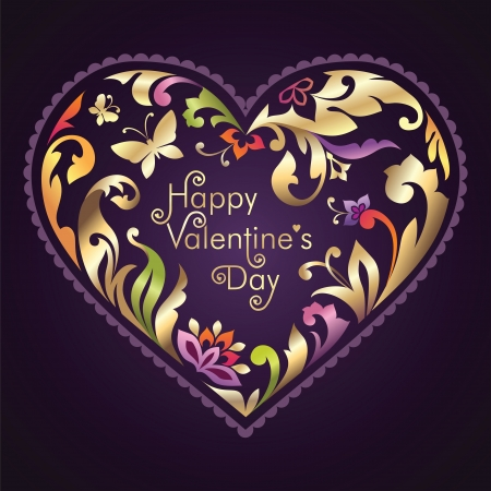 embossing: decorated Valentine day greeting text inside floral ornate heart frame
