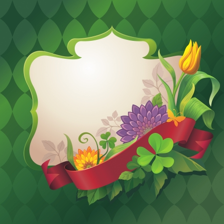 abstract ornate floral banner with red ribbon tag on green background