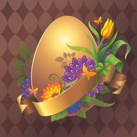 Abstract vintage golden egg floral banner with gold ribbon tag  photo