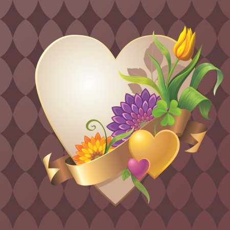 Abstract vintage floral heart banner with gold ribbon tag Stock Photo - 17515399