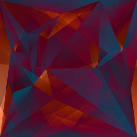 faceted: abstract faceted crystal red blue background Stock Photo