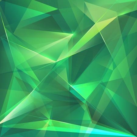 cubismo: abstracto cristal facetado verde esmeralda fondo