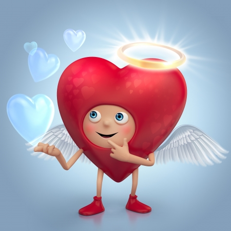 gift of hope: funny red angel heart cartoon with nimbus and wings