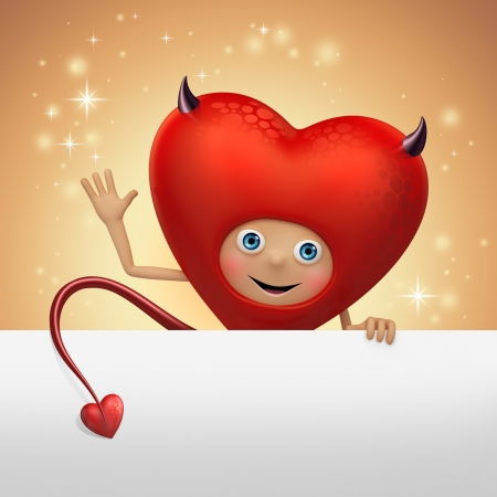 funny red devil heart cartoon flirting photo
