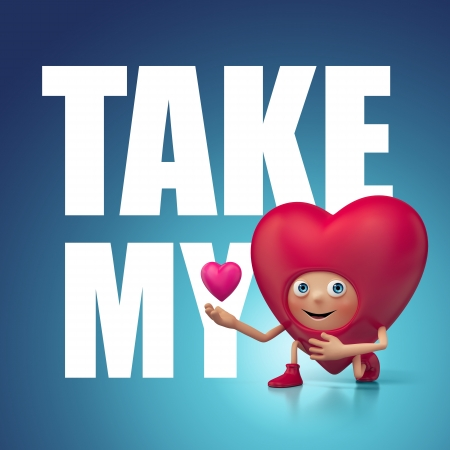 admirer: take my love and heart Valentine s day greeting Stock Photo