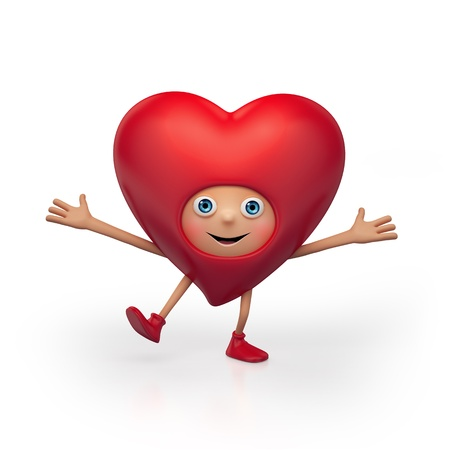 happy dancing red heart cartoon isolated on white background photo