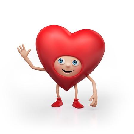 enamorados caricatura: caricatura tradicional coraz�n rojo aislado sobre fondo blanco