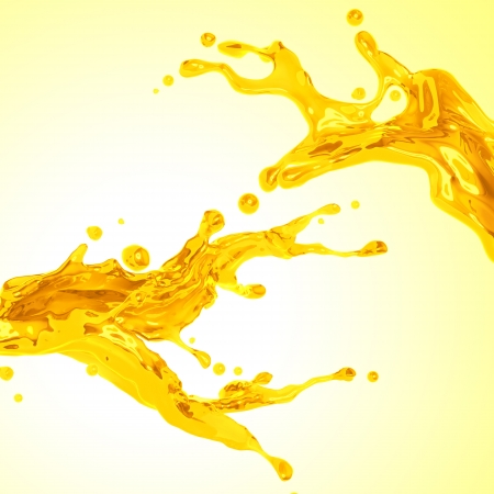 splash sinas: paar gele sinaasappelsap dynamische vloeistof splash Stockfoto
