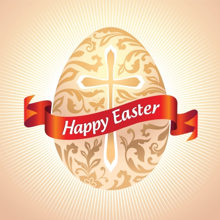 vector ornate Easter egg with greeting on red ribbon Stock Photo - 17865513