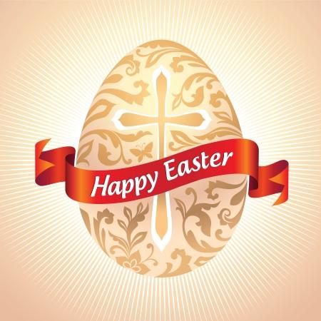 pasqua cristiana: vettore ornato Uovo di Pasqua con saluto su nastro rosso Archivio Fotografico