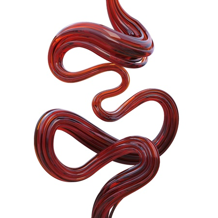 Abstract 3d red honey line isolated on white photo