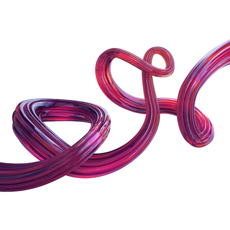 glass fiber: Abstract 3d pink translucent wavy line isolated on white