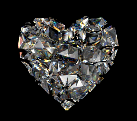 three dimensional shape: 3d broken brilliant crystal heart Stock Photo
