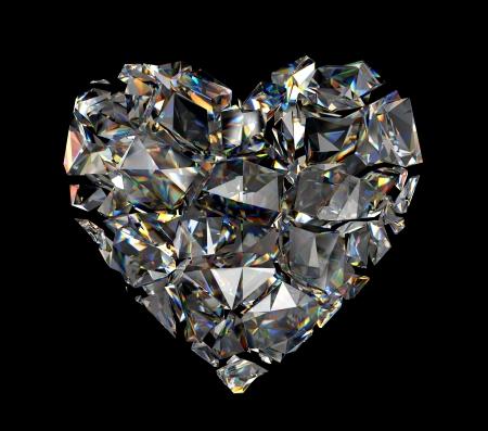 pietre preziose: Rotto 3d cuore di cristallo brillante Archivio Fotografico