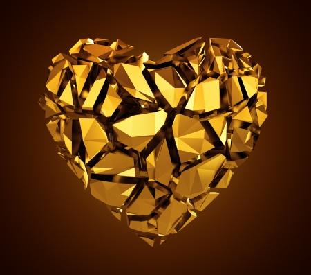 crystal heart: 3d broken gold crystal heart