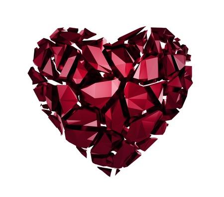 3d broken red crystal heart photo