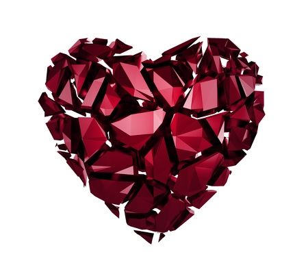 ruby red: 3d broken red crystal heart