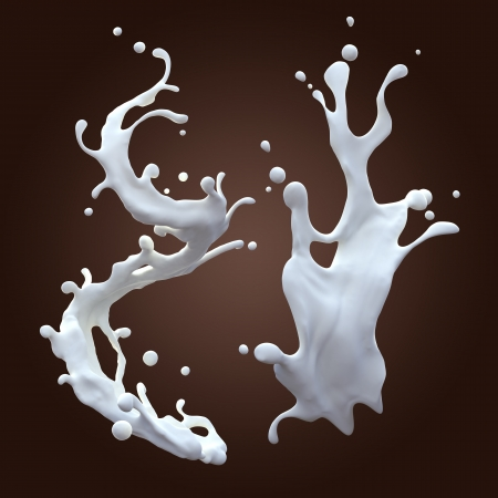 milk splash: white liquid milk splash set isolated on dark background Stock Photo