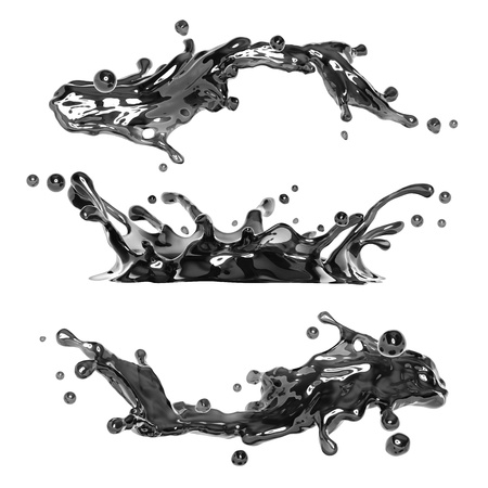water splash isolated on white background: black ink or fuel oil liquid splash Stock Photo