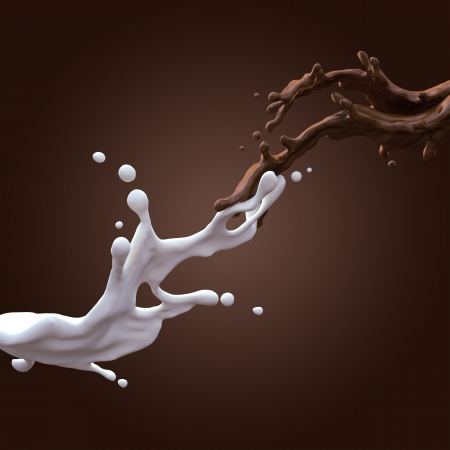 collision of liquid chocolate and milk splash photo