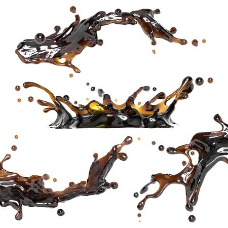 colas: t�, caff� o alcool marrone set spruzzi di liquidi Archivio Fotografico
