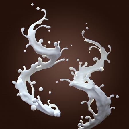liquid milk splash set isolated on dark background Stock Photo - 19194470